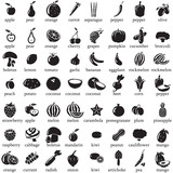 Set of fruits and vegetables vector icons