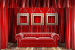 red fabric curtain with frames and sofa