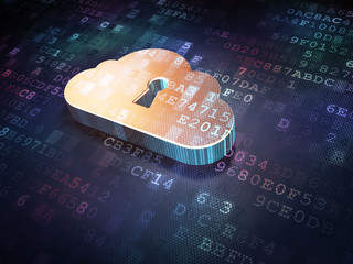 Cloud technology concept: Golden Cloud Whis Keyhole on digital b