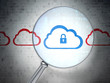 Cloud technology concept: Cloud Whis Padlock with optical glass