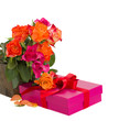 bunch of roses with  gift box