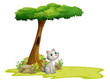 A cat under a tree