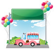 A pink ice cream bus near an empty green board
