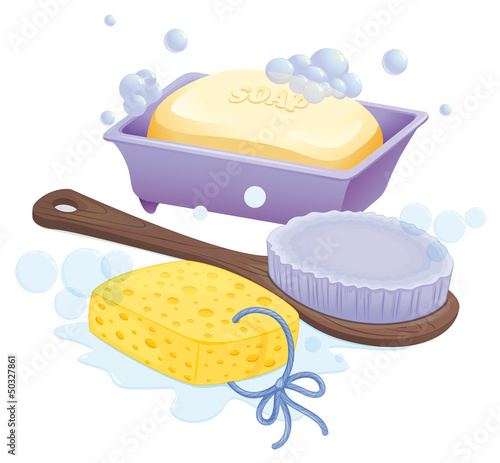 A sponge, a brush and a soap