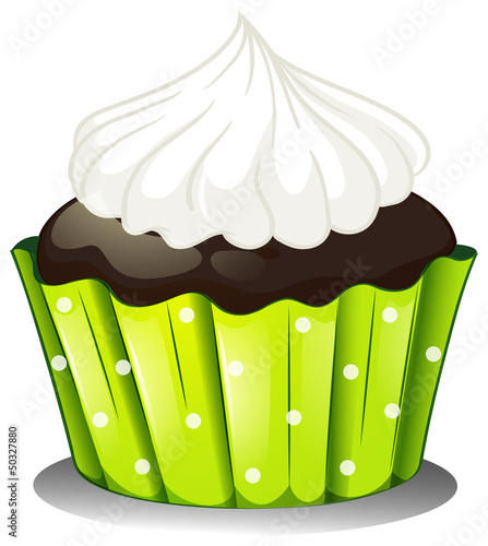 A chocolate cupcake with an icing