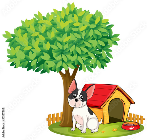 Aluminium Honden A doghouse and a dog under a tree