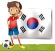 A Korean flag at the back of the soccer player