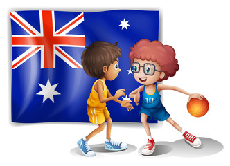 Basketball players in front of the Australian flag