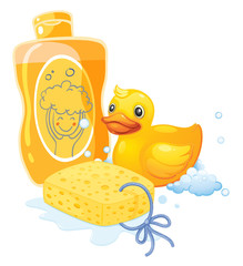 A bubble bath with a sponge and a toy duck