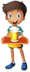 A young boy holding a tray with a mug of beer