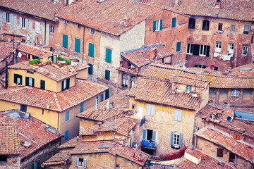 Houses of old city of Siena Tuscany Italy Europe