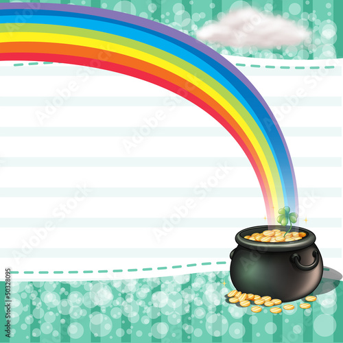 A pot full of coins with a clover plant