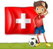 A football player in front of the flag of Switzerland