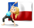 A girl stretching in front of a flag of chile