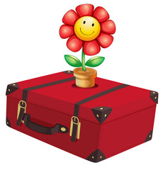 A red travelling bag with a plant
