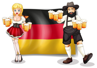 The flag of Germany with a man and a woman