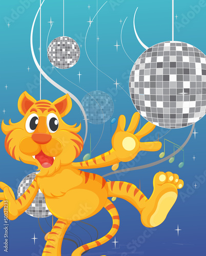 A tiger and the disco lights