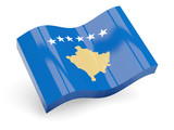3d flag of kosovo isolated on white poster