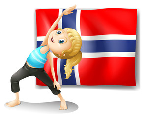 A Norwegian flag at the back of a girl exercising