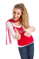 Spitze - Junge Frau in Rot isoliert freut sich - Daumen hoch