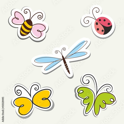 Cartoon Insects. Vector label set.