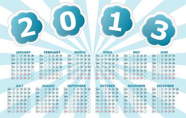 Simple 2013 year calendar with blue sun rays