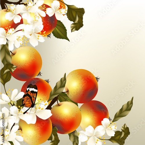 Tuinposter Abstract bloemen Art vector spring background with realistic apples and flowers