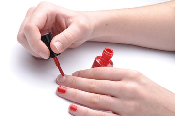 Manicure , red nail - Red nail on the nails