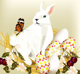 Cute Easter bunny sit in nest with eggs