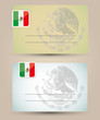business card with flag and coat of arms of Mexico