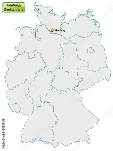 Landkarte von Deutschland und Hamburg