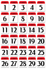 Number card 1 to 30 red