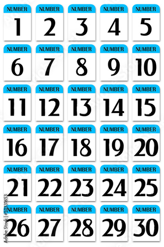Number card 1 to 30 blue