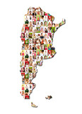 Portrait of a lot of people - map of argentina