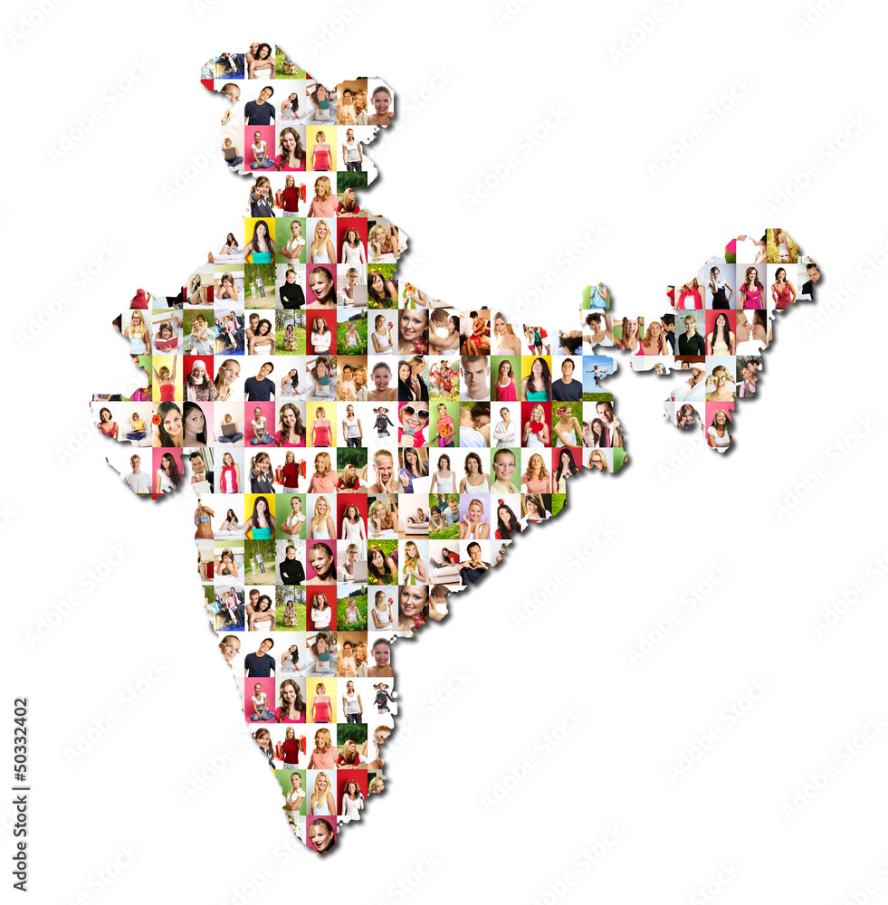 World map sticker for wall india - Portrait Of A Lot Of People Map Of India Wall Sticker