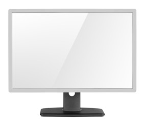 Blank modern computer display on white with clipping path