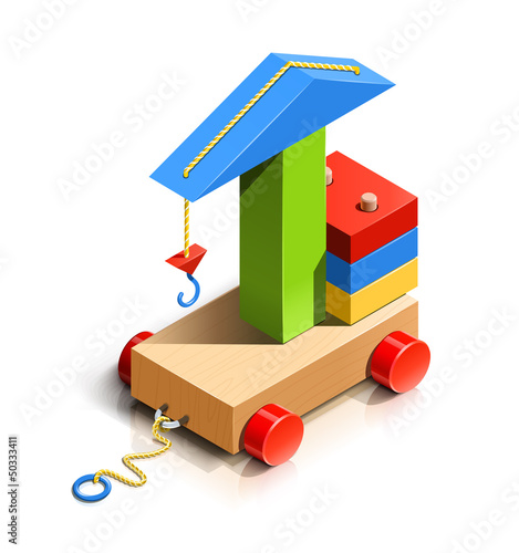 lifting crane, wooden toy vector illustration isolated on