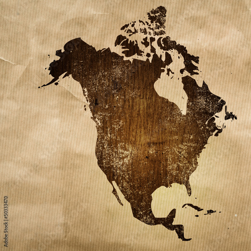 Staande foto Wereldkaart aged America map vintage