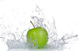 Fototapety Apple with water splash isolated on white