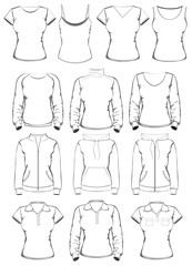 Collection of women clothes outline templates