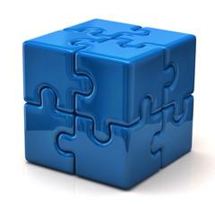 Blue puzzle cube