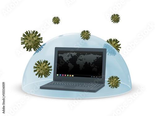 Abstract Illustration of Laptop Security and Protection