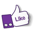 Thumbs up paper sticker used in a social networks