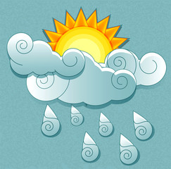 Vector weather icons in retro style. Sun behind the clouds and r