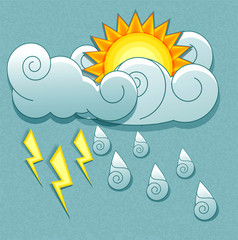Vector weather icons in retro style. Sun behind the clouds