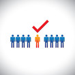 Illustration- selecting(hiring) right employee, worker, candidat