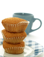 sweet muffins on plate and cup of tea