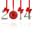 2014 calendar ornaments hanging on red ribbons