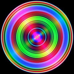 Multicolored circles light flares isolated on black.