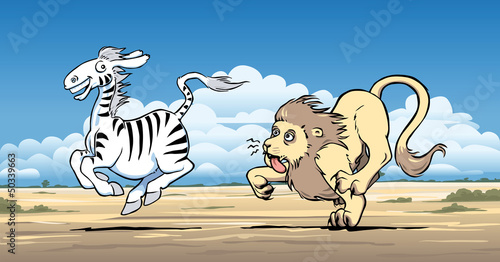 Lion hunting a zebra